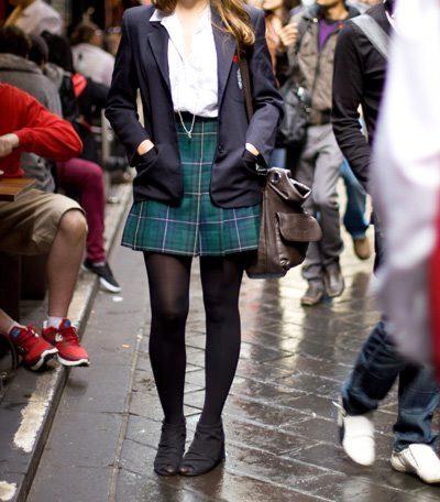 Schoolgirls in high heels   T-bar